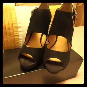 Nine West Black Suede Heeled Sandals